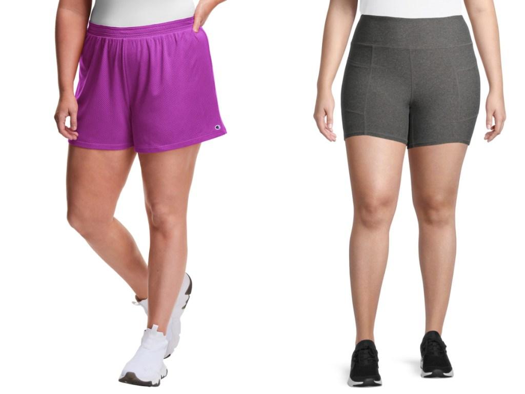 women wearing purple and gray shorts