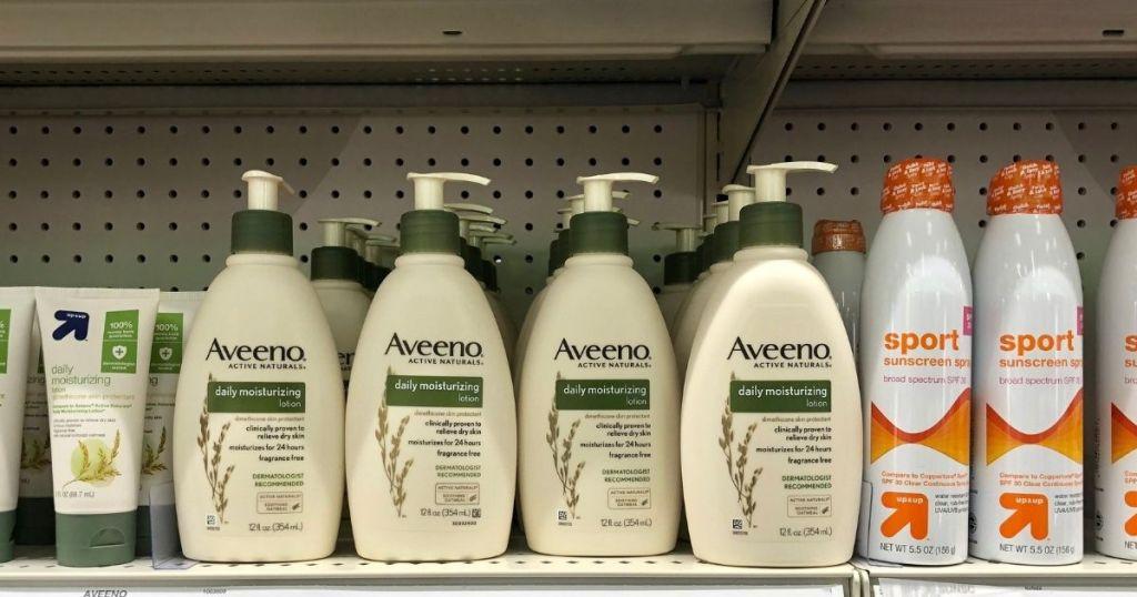 Aveeno daily moisturizers on shelf