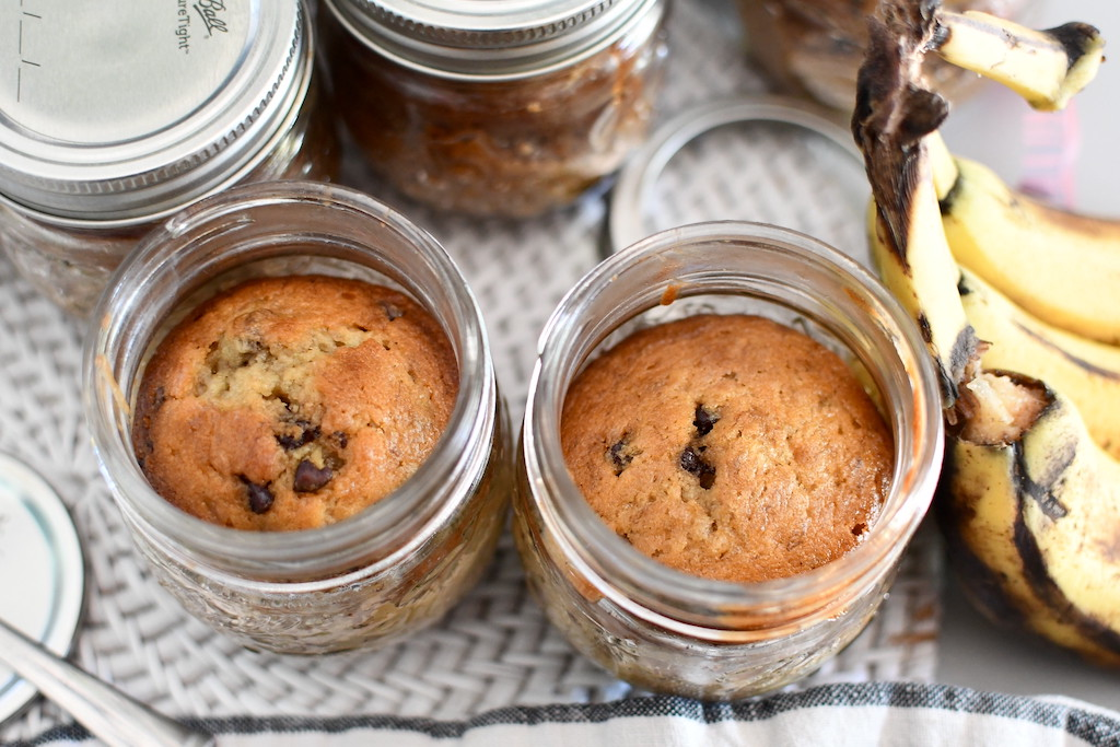 banana bread in jars on counter