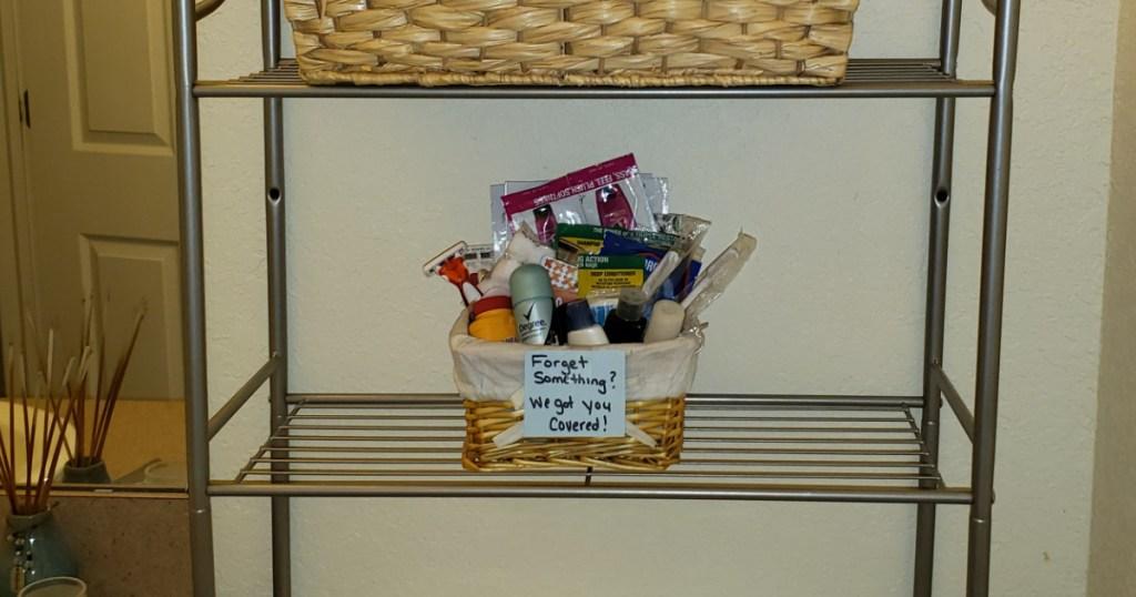 basket of samples in the bathroom