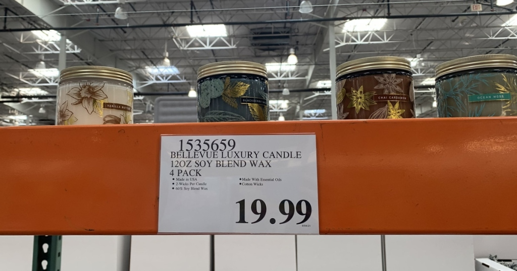 candles on shelf at Costco