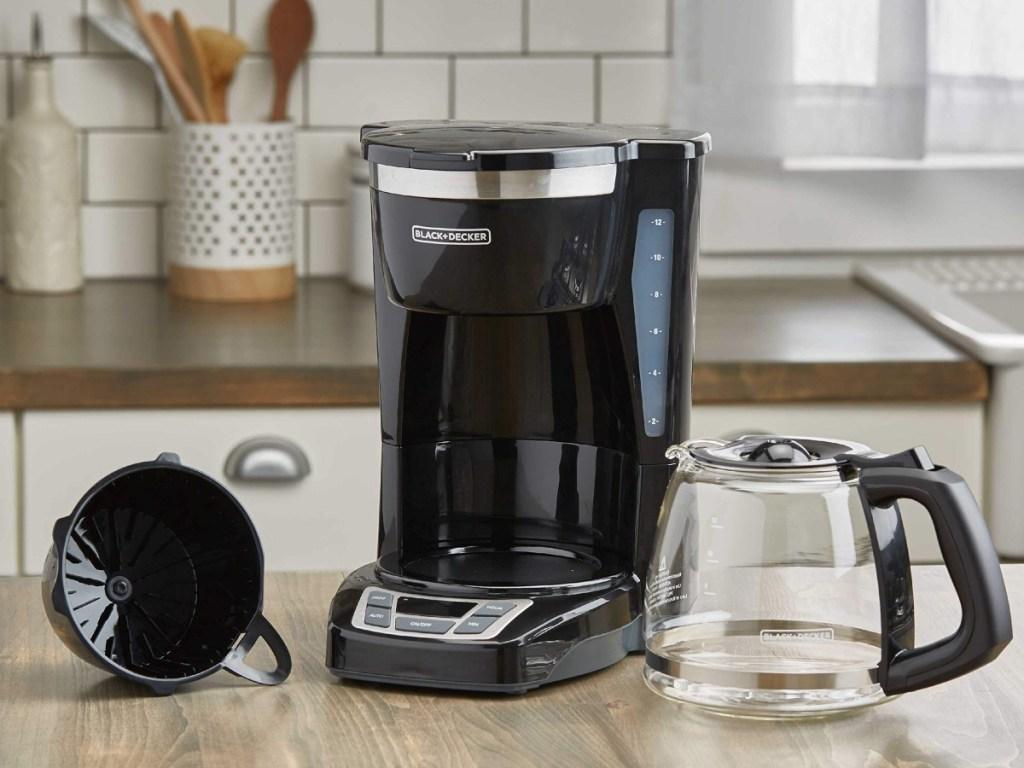 components of a Black + Decker coffee pot