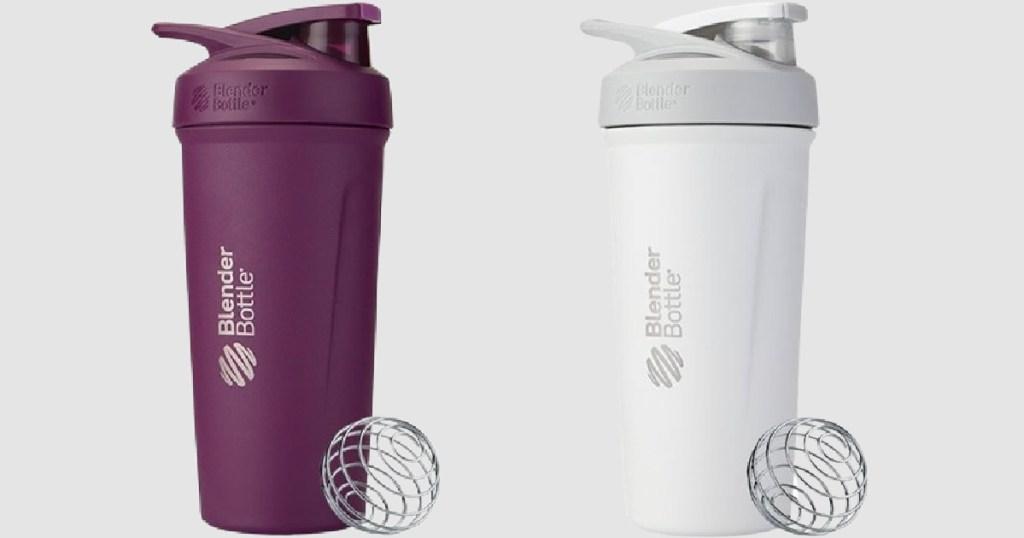 purple and white blender bottles