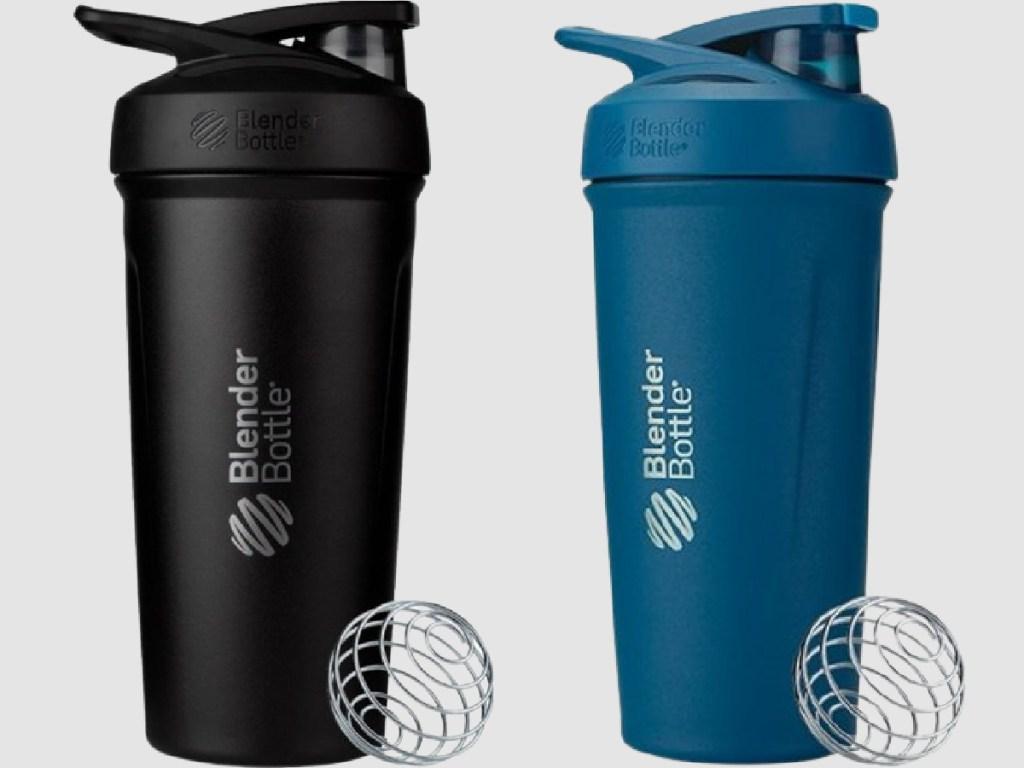 black and blue blender bottles