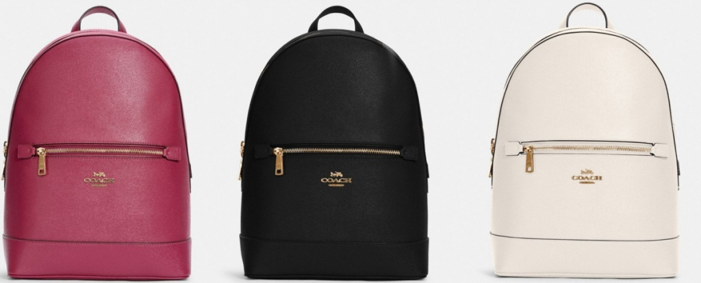 pink, black and white COACH backpacks