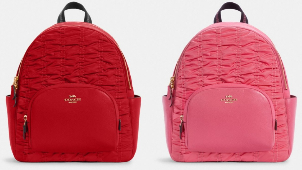 red and pink ruched COACH backpacks
