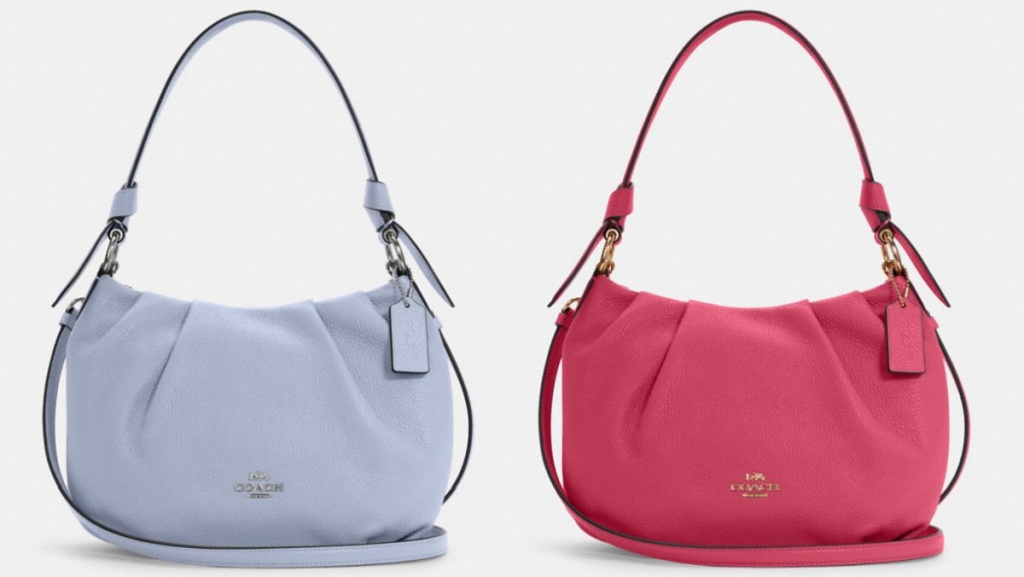 blue and pink COACH bags
