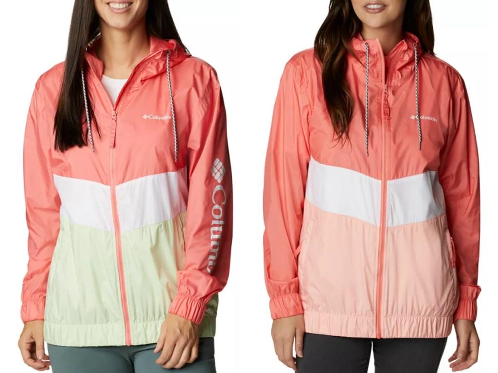 2 women wearing columbia windbreakers