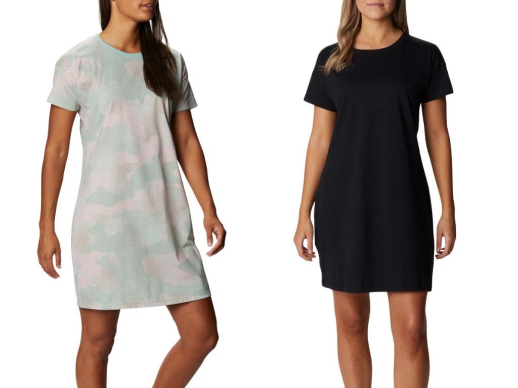 2 women wearing columbia t-shirt dresses