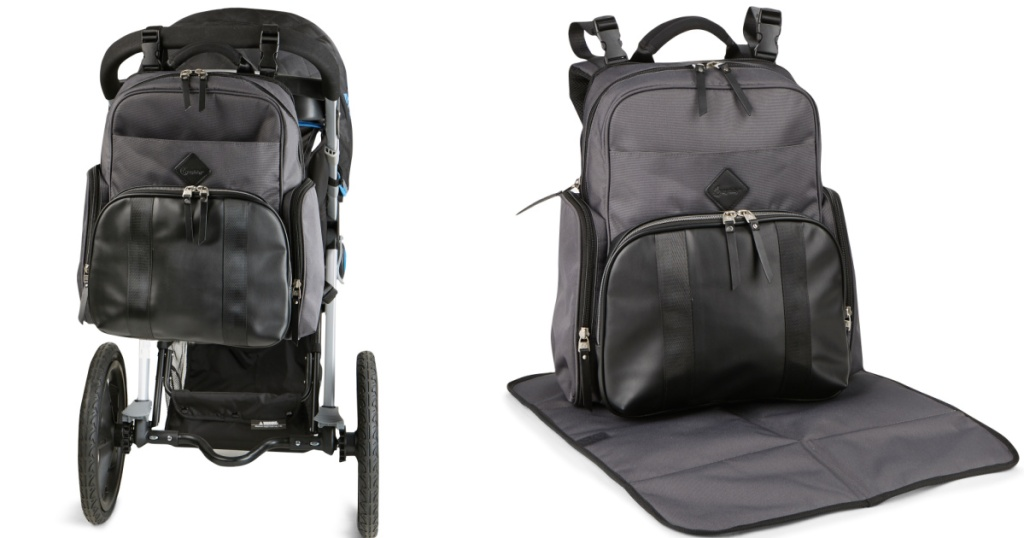 diaper bag backpack on stroller and on changing pad