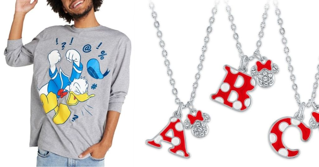 man wearing donald duck tee; minnie mouse initial necklace