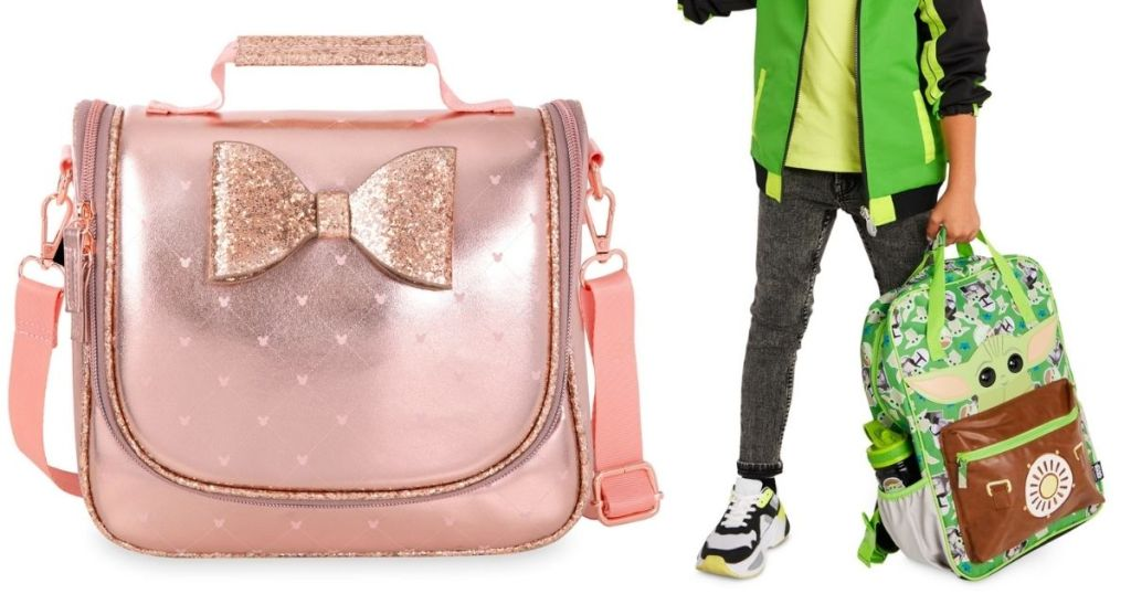 pink minnie lunch bag and boy holding Yoda backpack