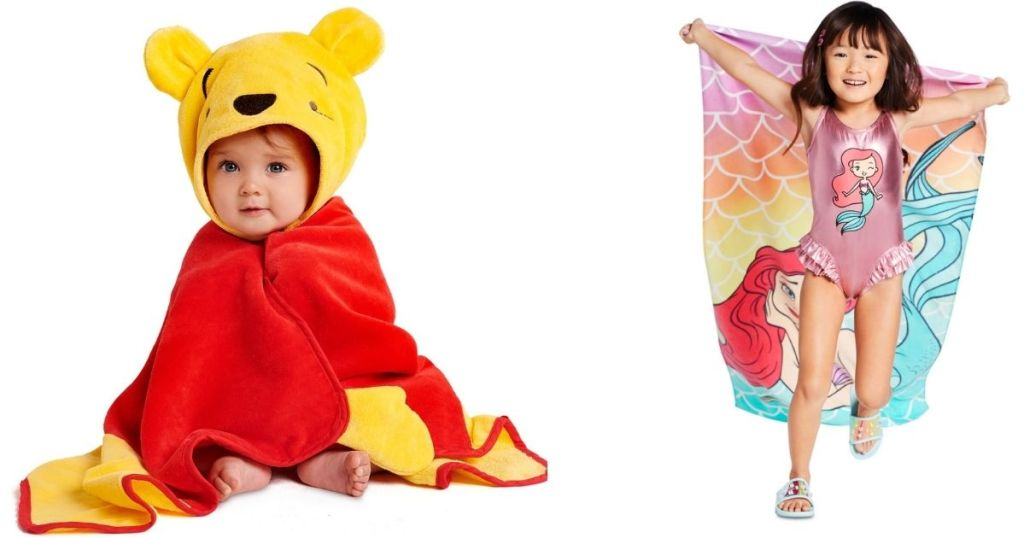 winnie the pooh hooded towel on baby and girl with Ariel beach towel