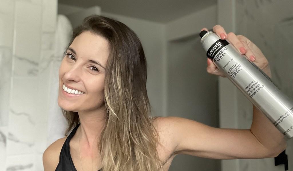 woman using sally beauty generics spray