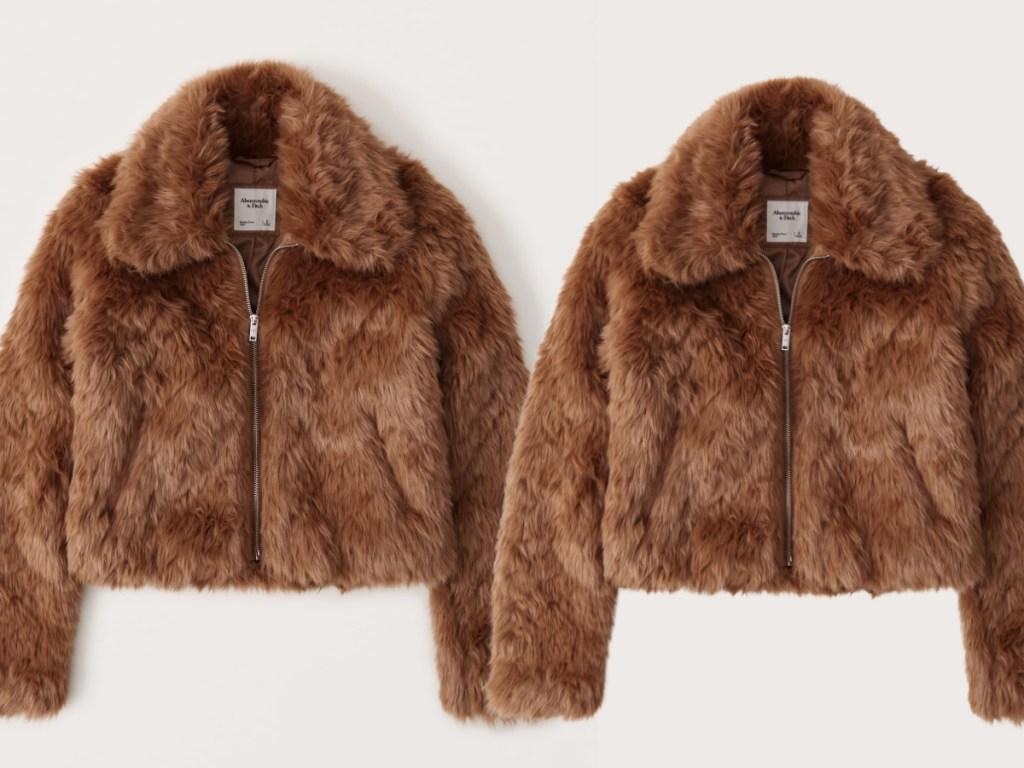 faux fur coat abercrombie