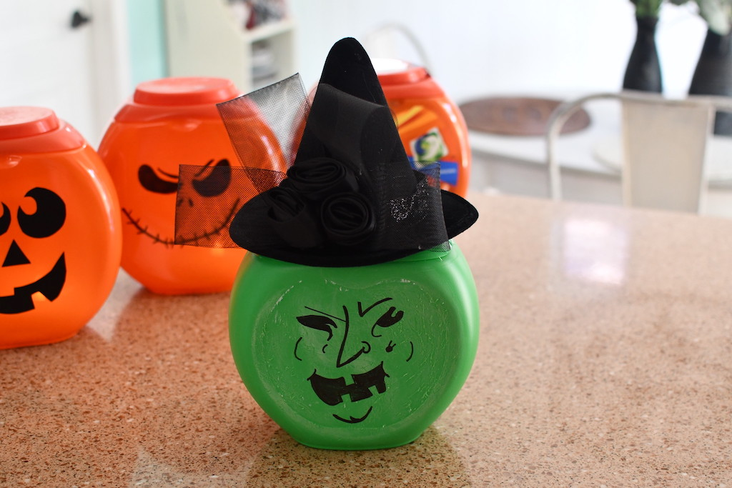 gain laundry detergent container made into witch