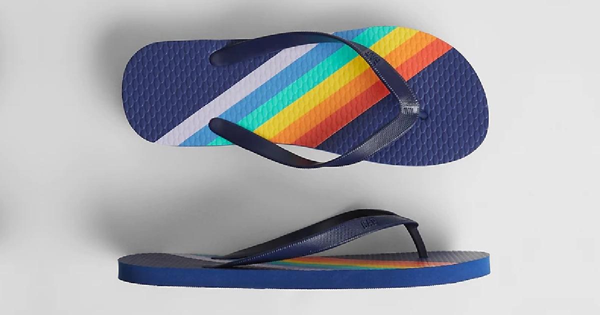 blue flip flops with rainbow stripes