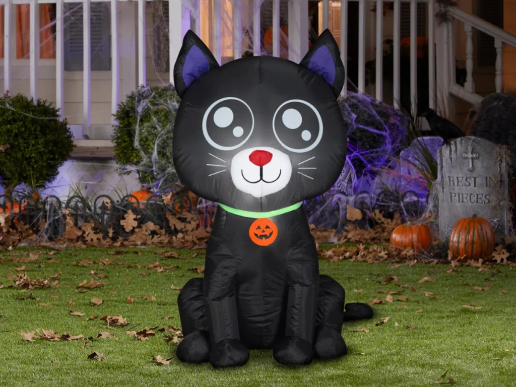 light-up inflatable black cat