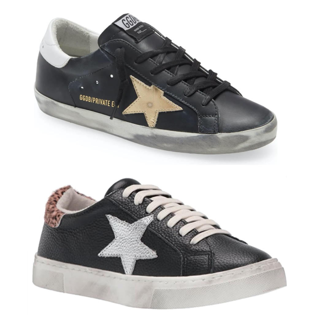 two black golden goose sneakers dupe with white background