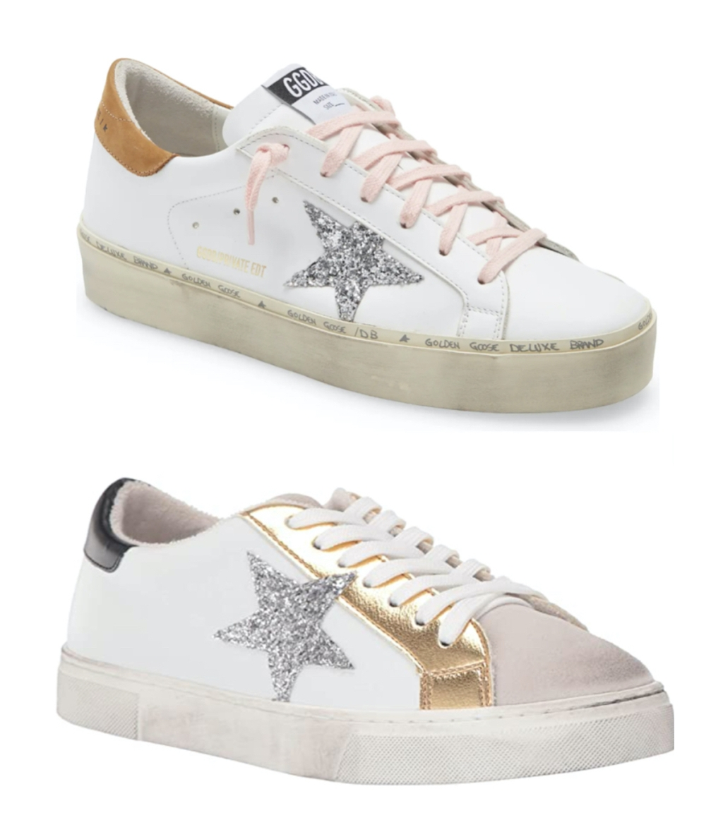 stock photos of gold pink and white golden goose dupe sneakers