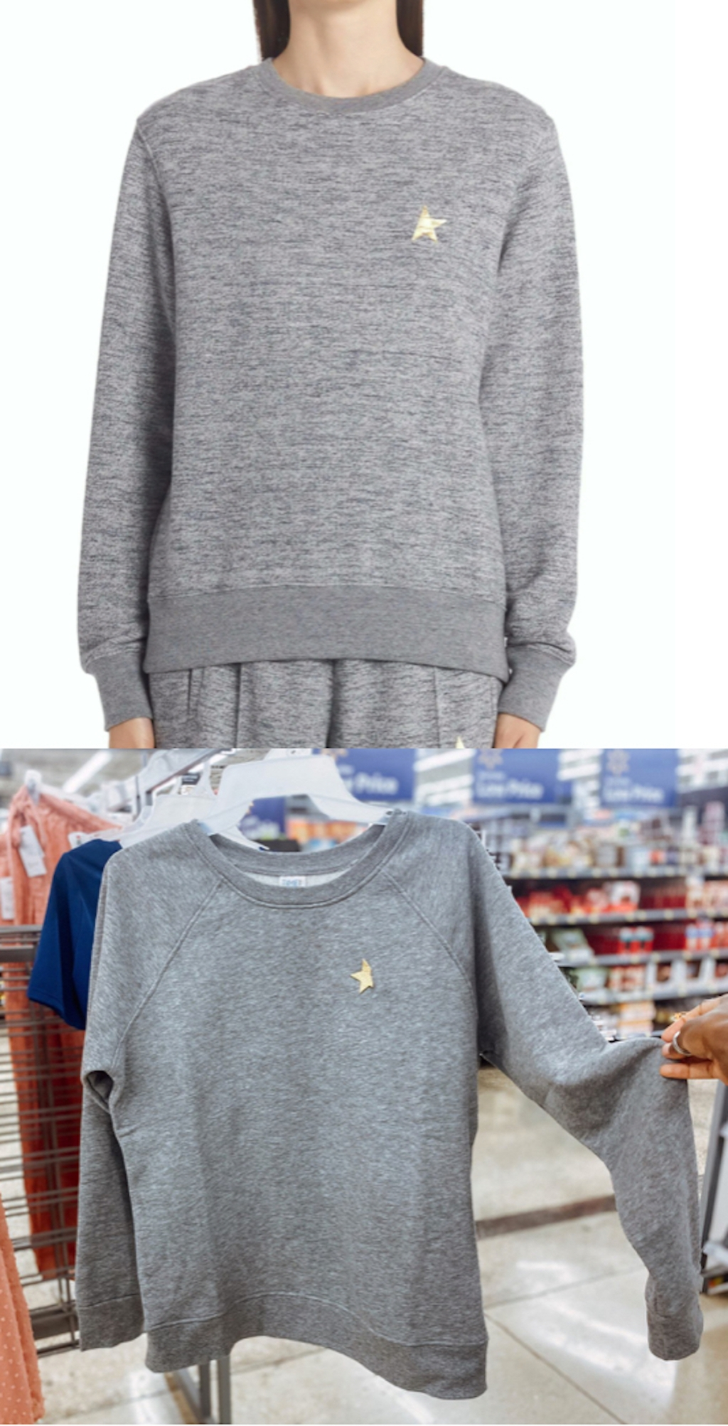 comparison of gray sweatshirt with gold star on front