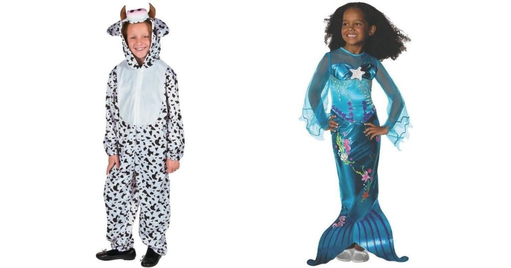 cow and mermaid kids costumes