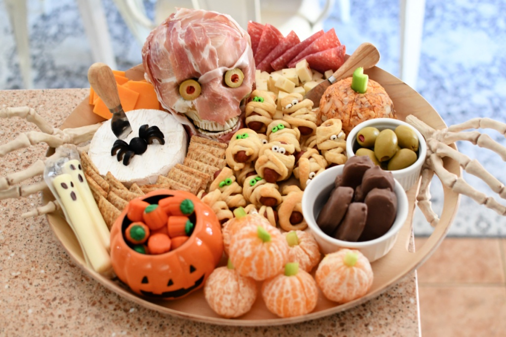 halloween snack board with meat skull
