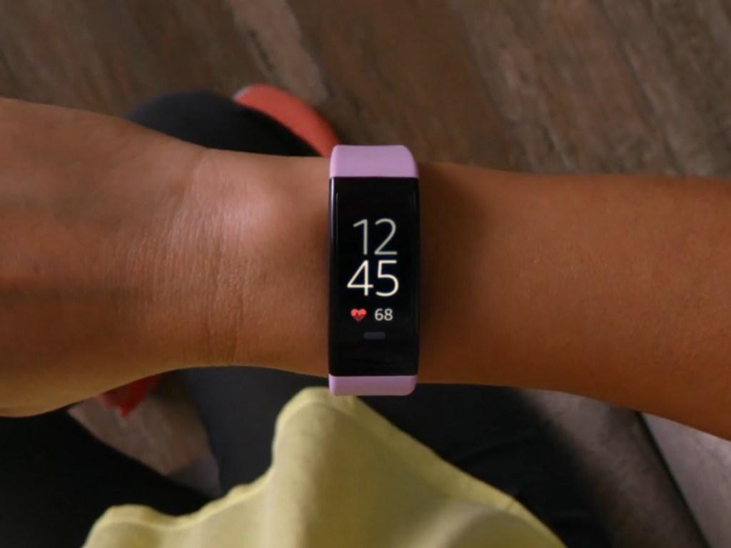 fitness tracker on woman's wrist