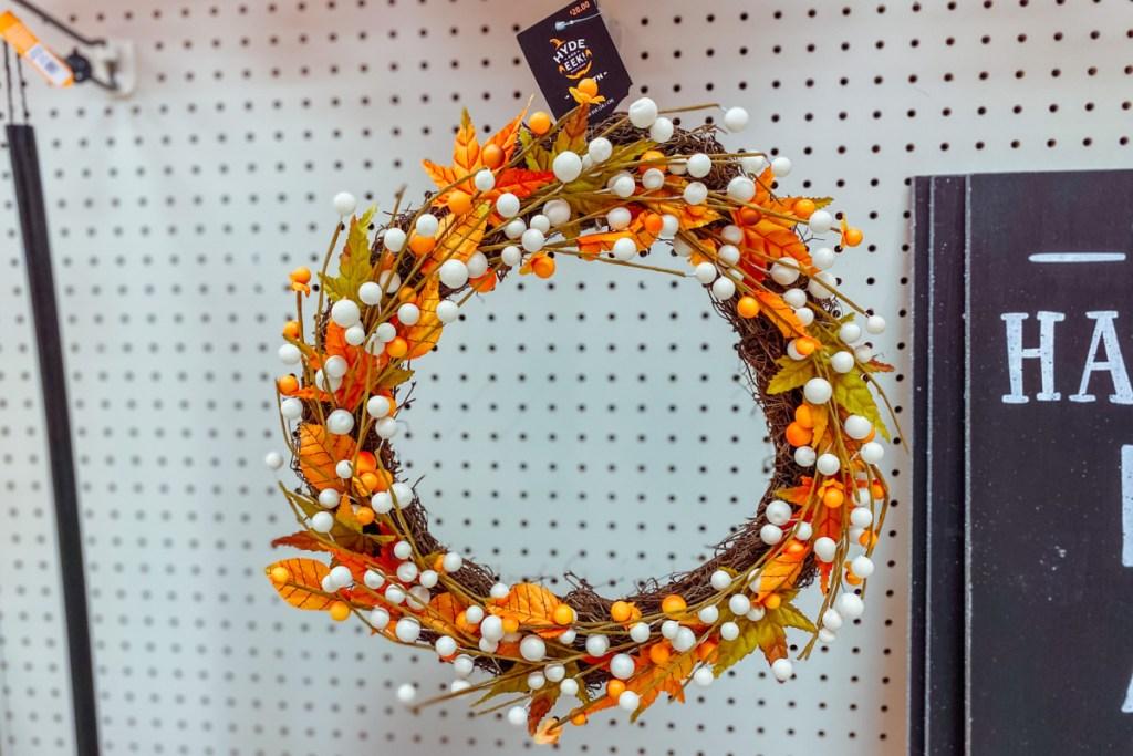 harvest wreath on display at target