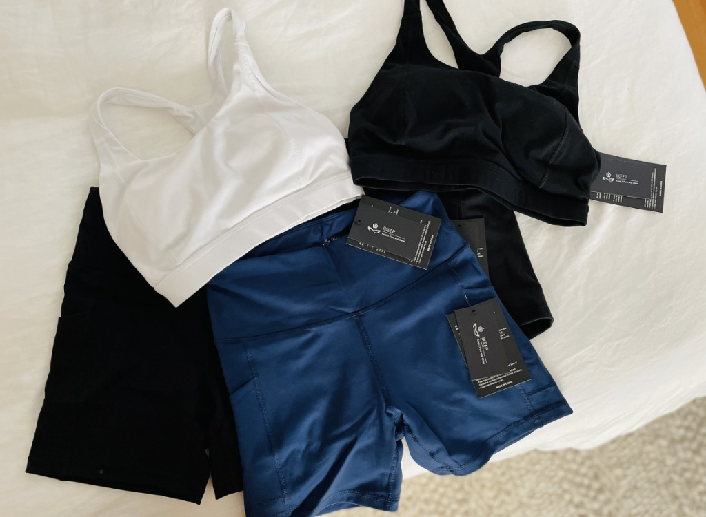 ikeep workout apparel speard out