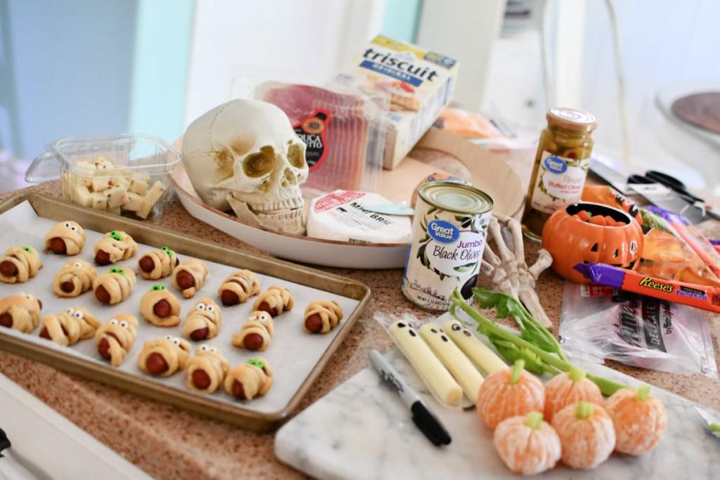 ingredients for halloween snack board