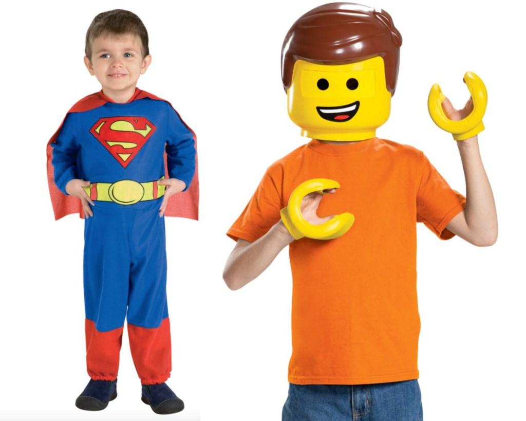 kids superman and kids lego costume
