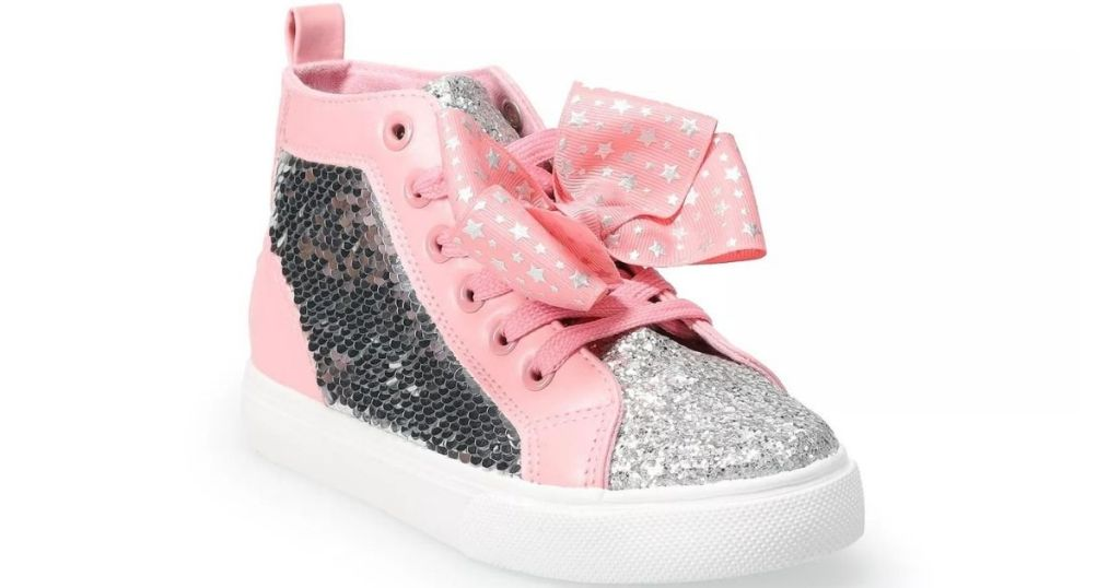 pink and silver sequen girls shoes with a bow