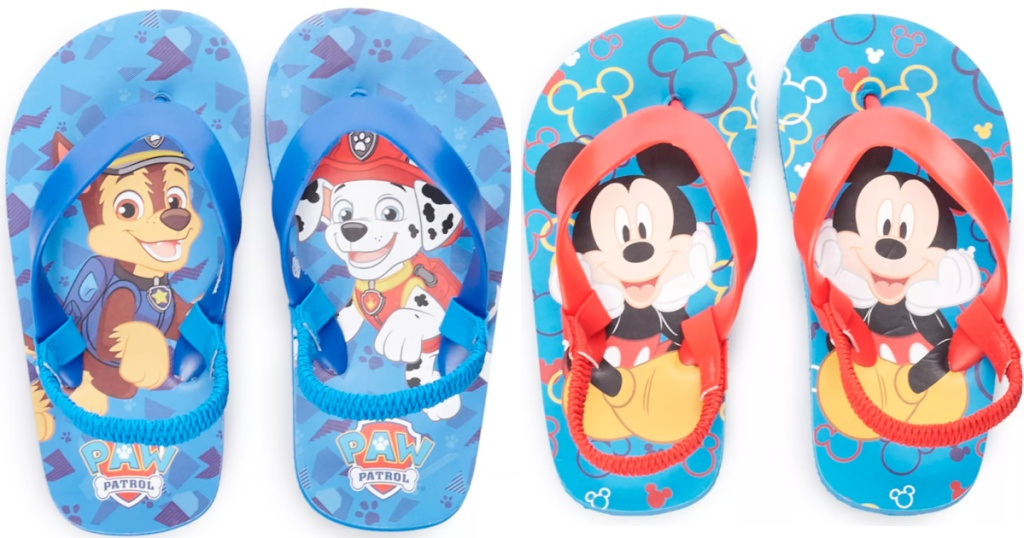 paw patrol and mickey mouse kids sandals