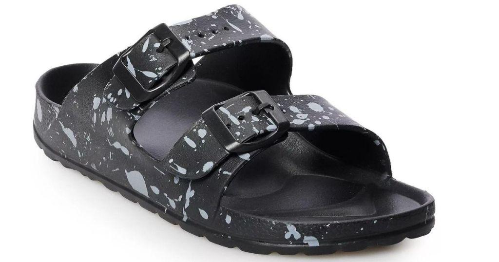 boys black and white splattered sandals