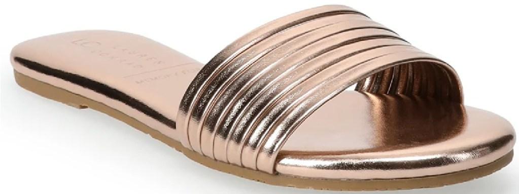 gold slide womens sandals