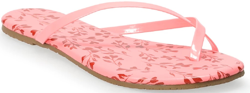 pink flowery thong sandals