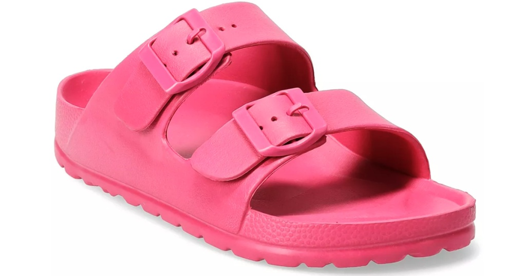 pink women's slide sandals