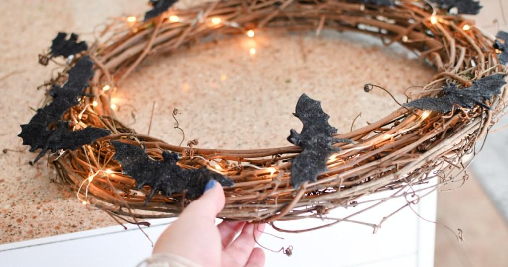 making a bat wreath for halloween