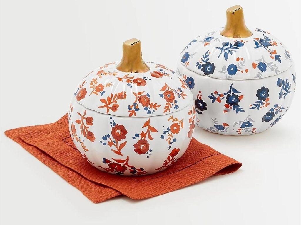 orange and blue harvest pumpkin dishes