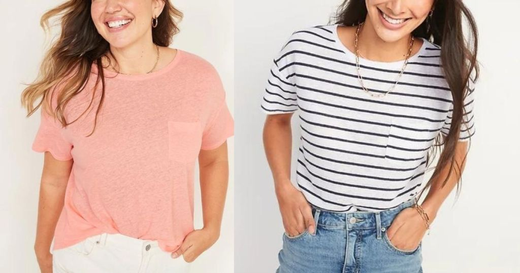 woman wearing pink short sleeve tee and white and blue striped tee