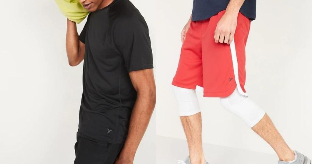 man wearing black short sleeve tee and red shorts