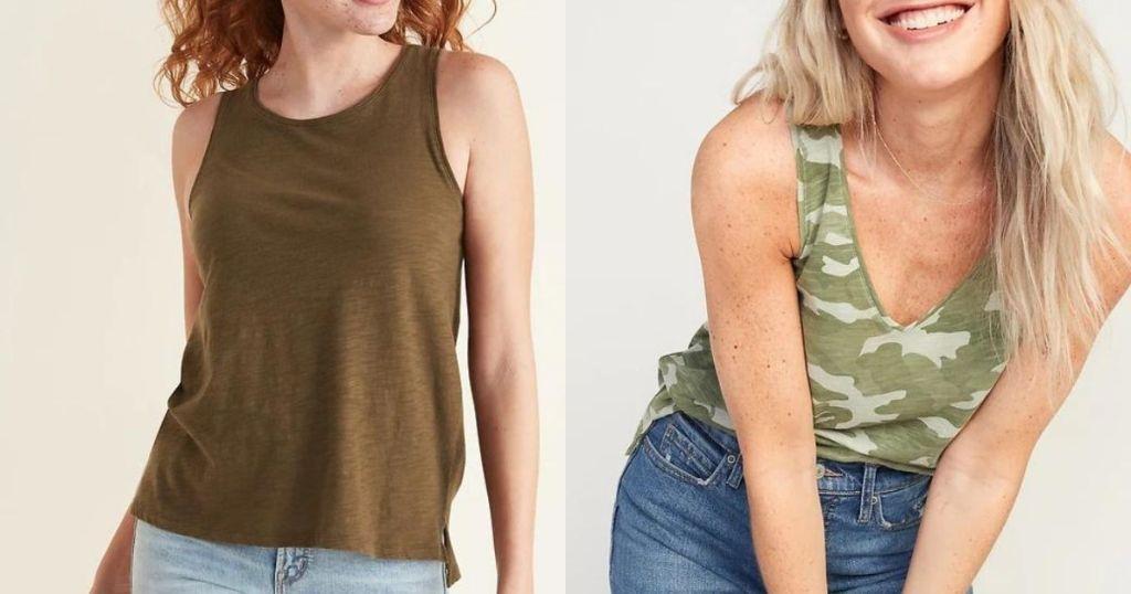 woman wearing brown tank and woman wearing camo tank