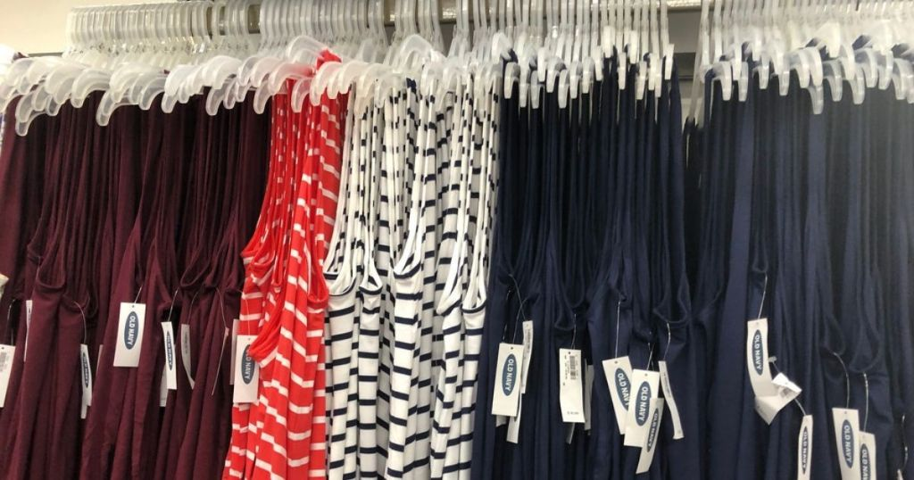 womens tops hanging in store
