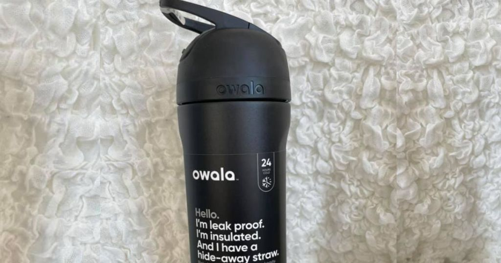 Owala water bottle on white surface
