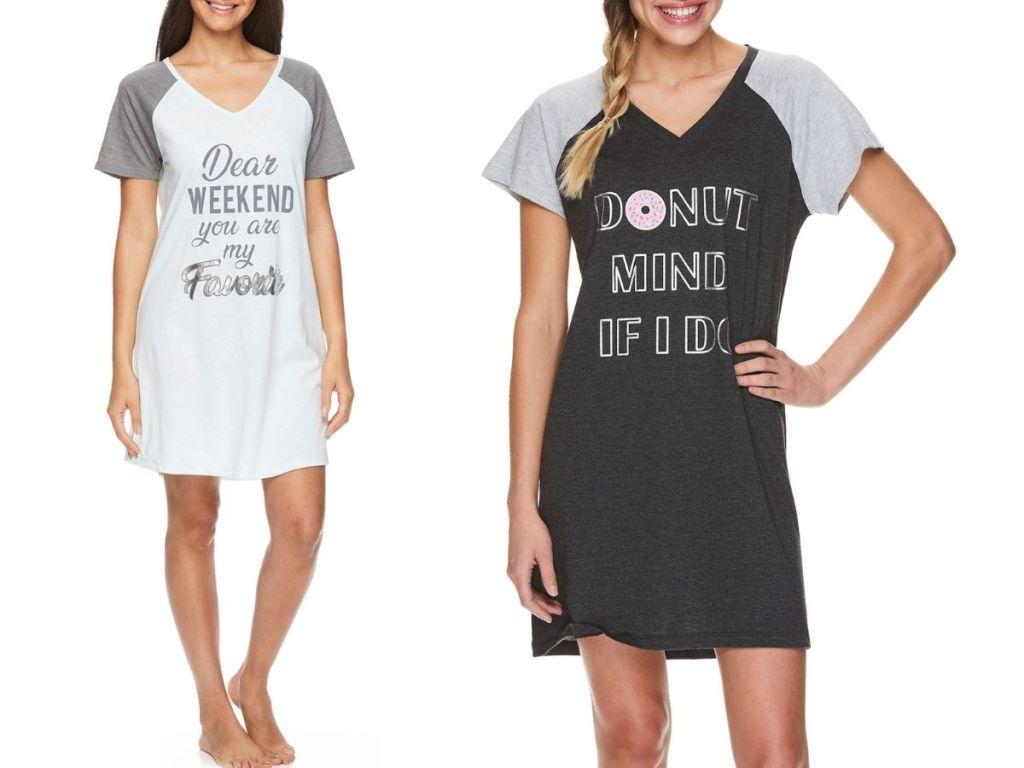women wearing graphic t-shirt pajamas