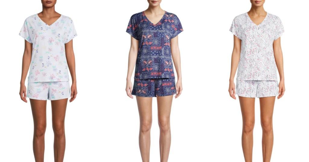 women wearing short sleeve and shorts pajamas