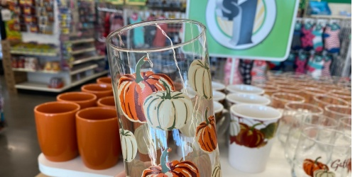 Fall Themed Dinnerware Only $1 at Dollar Tree (Includes Glasses, Mugs, Plates & More)