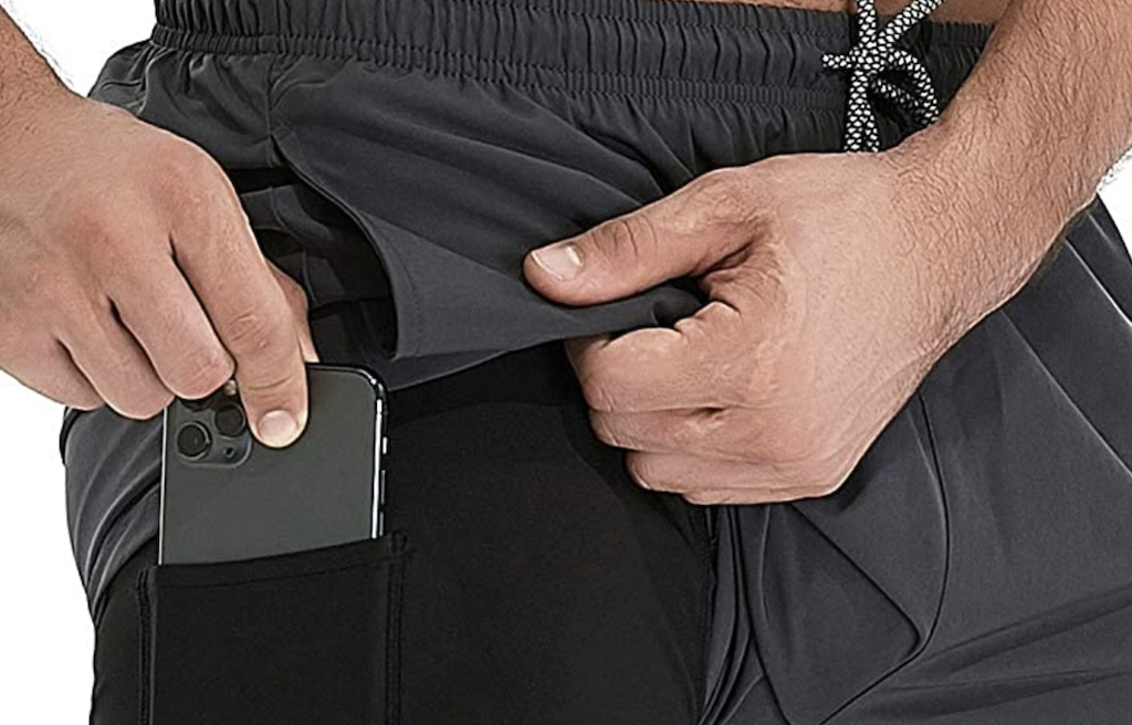 putting phone in shorts pocket