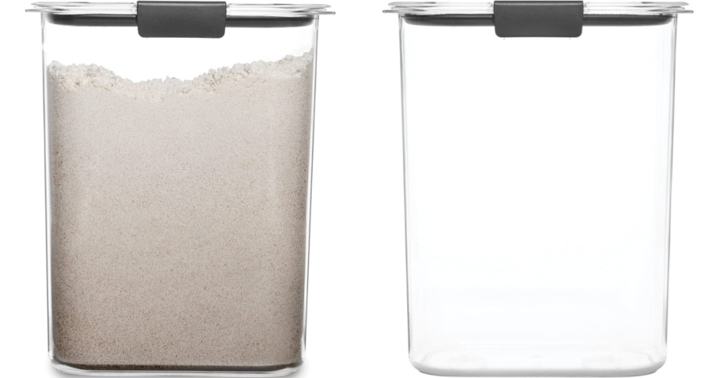 food storage container filled with flour and empty
